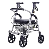 HCC& Shopping Cart Dolly Deluxe Lightweight Elderly Walk & Rest Luggage cart 360° Rotate Wheels High Capacity Grocery Cart Collapsible Portable Wheelchairs Cart