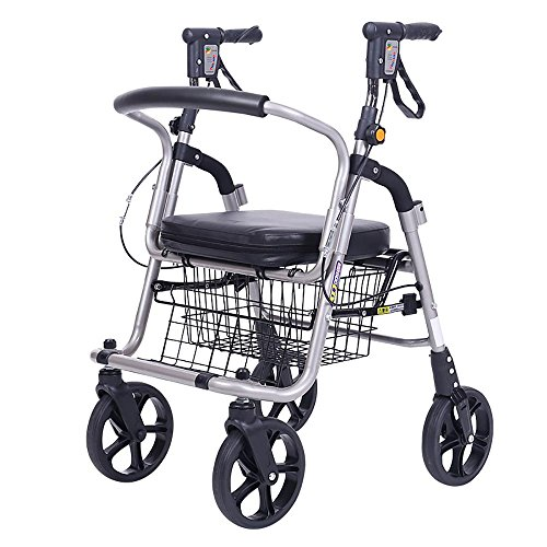 Shopping Cart Dolly Deluxe Lightweight Elderly Walk & Rest Luggage cart 360° Rotate Wheels High Capacity Grocery Cart Collapsible Portable Wheelchairs Cart by LN-GW