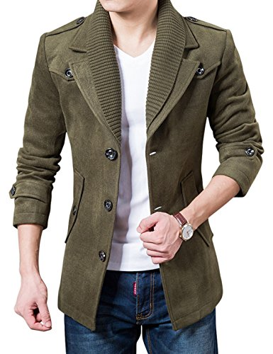 e-Button Fitted Wool Blend Pea Coat Removable Crochet Collar (X-Large, Army Green) (Fitted Wool Blend Coat)