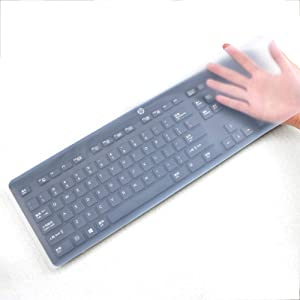 "17.52"" x 5.51"" Universal Keyboard Cover Skin Design for Standard Size PC Computer Desktop Keyboards, Clear Waterproof Anti-Dust Silicone-Clear"