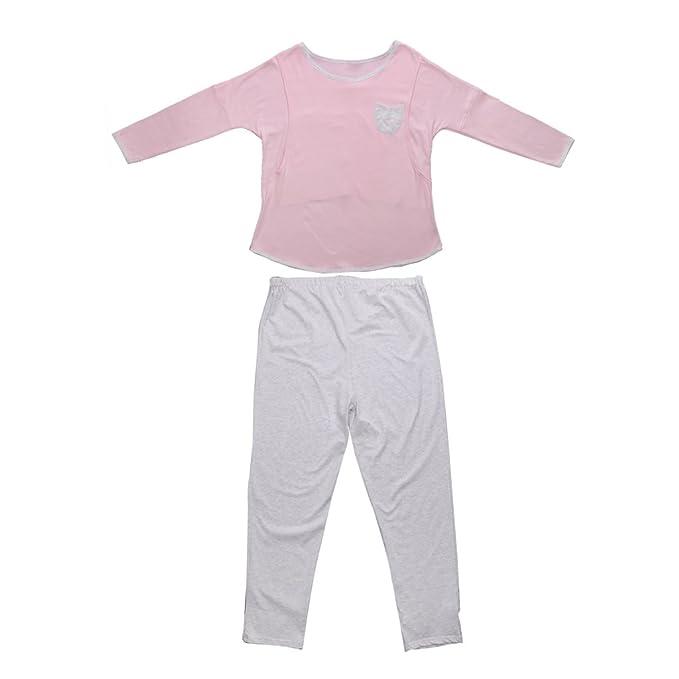 MagiDeal 2pcs Sleepwear Ropa para Premamá Dormir Maternidad Amamantamiento Lactancia Pijamas Enteras Azul/Rosado -