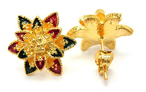 18k 22k Gold Stud Earrings (Superb Flower Enamel Design 18k Gold-plated Thai Style Stud Earrings)