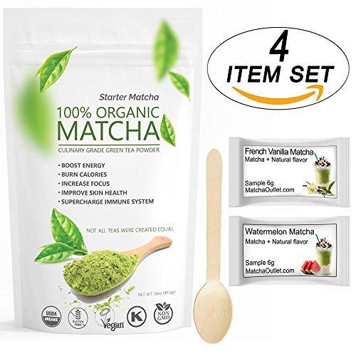 RLT Starter Matcha 16oz (4 items set) - USDA Organic, Non-GMO Certified, Vegan and Gluten-Free. Pure Matcha Green Tea Powder + Wooden Spoon + 2 Samples of Naturally Flavored Matcha (Starter Spoon Sets)