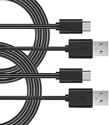 Elzo 2-Unidades Cable Micro USB Carga Rápida, 3A 5,9 pies / 1,8 m Cargador Micro USB Sincro y Carga USB para Dispositivos Android, Samsung Galaxy, ...