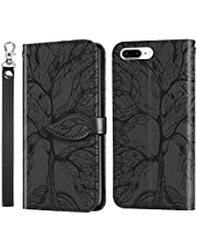 Miagon Embossing Cover for iPhone 7 Plus/8 Plus,Wallet PU Leather Magnetic Flip Case Tree Pattern Case Card Slots with Stand,Black