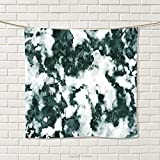 smallbeefly Marble Hand Towel Abstract Stone Facet Artistic Blurry Layered Shades Textured Image Quick-Dry Towels Forest Green Pearl White Size: W 20'' x L 26''