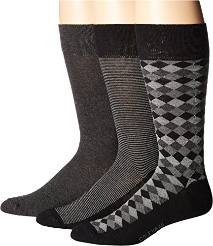 Cole Haan Mens 3-Pack Diamond Stripe Crew Black/Graphite Heather/Charcoal Heather One Size One Size