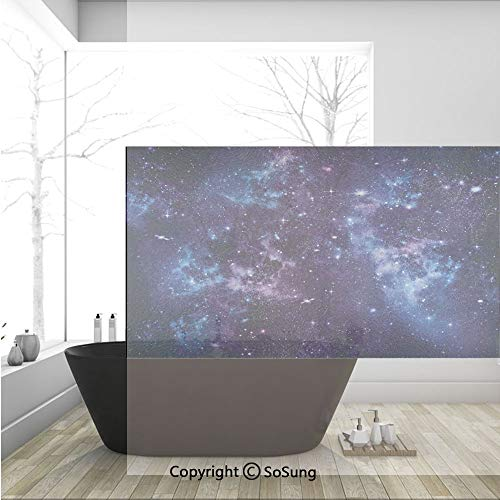 3D Decorative Privacy Window Films,Mystical Sky with Star Clusters Cosmos Nebula Celestial Scenery Artwork,No-Glue Self Static Cling Glass Film for Home Bedroom Bathroom Kitchen Office 36x24 Inch -