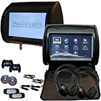 2x 9 inch Digital Touch Screen Headrest DVD Player Monitor BLACK Autotain Dream