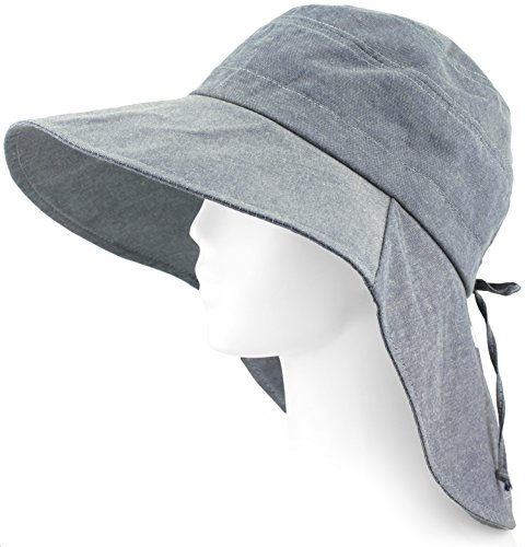 Packable Summer Beach Sun Hat - Long Back Wide Brim, Strap Included - Soft (Suite Women)