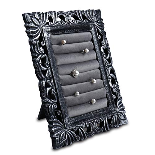 (Ikee Design Antique Wooden Ring Slots Jewelry Stand and Storage with a Stand (Black))