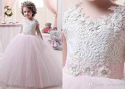 d9ea9523d 1 Pieza de encaje de flores vestidos niña Vestido mangas Tapa de niños  vestidos de novia