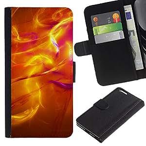 KLONGSHOP // Tirón de la caja Cartera de cuero con ranuras para tarjetas - Sun irradia iridiscente 3 Las llamas de fuego - Apple Iphone 6 PLUS 5.5 //