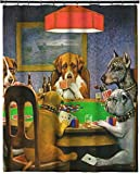 RNK Shops Dogs Playing Poker 1903 C.M.Coolidge Extra Long Shower Curtain - 70''x90''