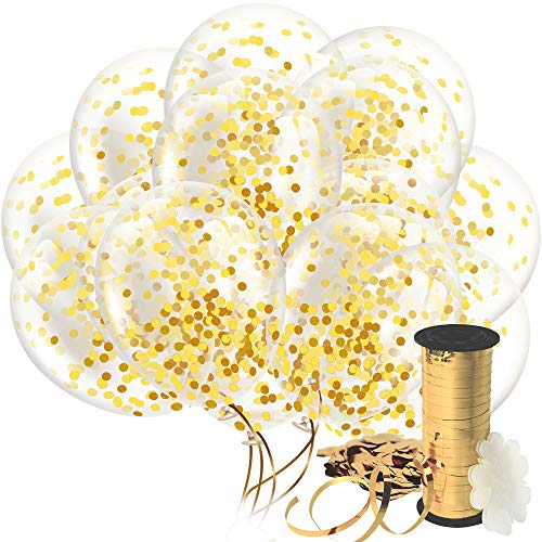 50th Wedding Anniversary Balloons (Decopom Gold Confetti Balloons Curling Ribbon - Roll & Flower Clips 32 Pack | Premium 12 Inch Latex Party Balloons - Filled Round Golden Mylar Foil Dot Confetti Birthday, Wedding,)