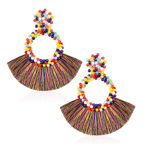 Tassel Bead Statement Earrings for Women Girls Handmade Bohemian Beaded Hoop Round Thread Fringe Dangle Trendy Light Studs Ear Jewelry Accessory Gift for Lady with Gushion Present Box GUE130 Colorful