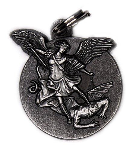 - 20mm - 23mm Saint Michael Medal Charm SILVER Antique