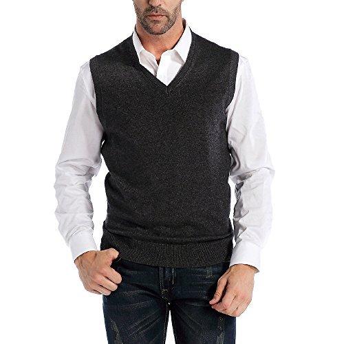 Kallspin Men's Relax Fit V-Neck Vest Knit Sweater Cashmere Wool Blend