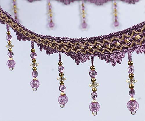 MOPOLIS 1m Bead Lace Curtain Sewing Fringe Trim Tassel Ribbon Accessory DIY | Color - Purple ()