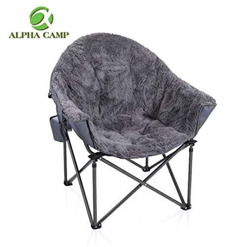 ALPHA CAMP Plush Moon Saucer Chair with Carry Bag – Supports 350 LBS, Gray