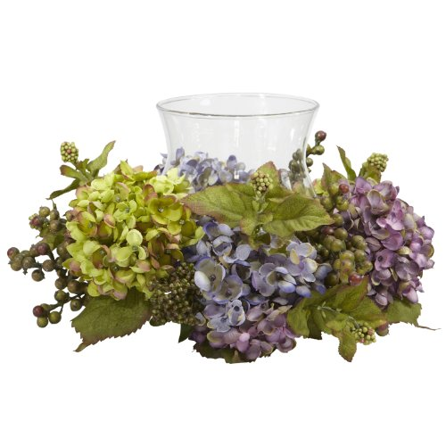 Nearly Natural 4758 Hydrangea Candelabrum Silk Arrangement, Mixed ()