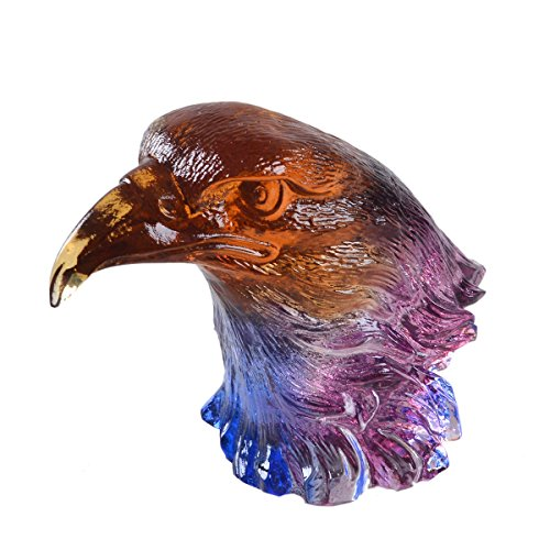 LONGWIN Mini Chinese LiuLi Feng Shui Ornaments Eagle Head Paperweight Special Gift