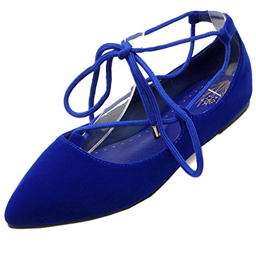 Enmayer Womens Handige Self Lace Up Wandeljurk Flats Blauw