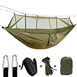 Hammock Tree Straps & Carabiners Easy Assembly Portable Parachute Nylon Hammock Single & Double Camping Hammock With Mosquito/Bug Net For Camping, Backpacking, Survival, Travel & More with Space-Savin