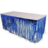 New! Set Of Blue Metallic Foil Fringe Table Skirt 30