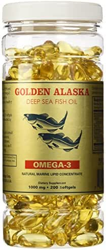 Golden Alaska Deep Sea Fish Oil Omega-3, 1000 Mg, 200 Capsules
