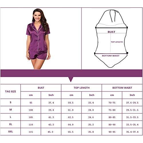 7190f4c82e 85%OFF Giorzio Damen Satin Schlafanzüge Sommer Nachtwäsche Kurz Pyjama Set  Zweiteiliger V-Ausschnitt ?