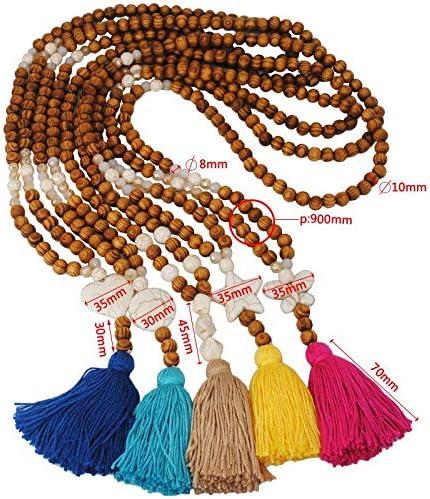 Pompon Perles en Bois Collier Long Collier Femme Simple Fait Main Accessoires Dames Accessoires comme indiqu/é Blanc Nikgic