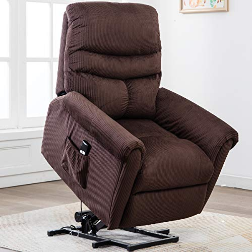 Bonzy Home Electric Power Lift Recliner Chair Sofa for Elderly, Living Room Chair with Overstuffed Design, Power Lift Chair with Safety Motion Reclining Mechanism,Brwon (Chairs Cheap Overstuffed)