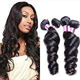 Etino Mixed length 8-30 Inche Loose Wave Brazilian Virgin Remy Human Hair Weave Weft 3 Bundles 300 Grams Unprocessed Natural Color Extensions 100% Brazilian Human Hair Extensions (8 8 10)