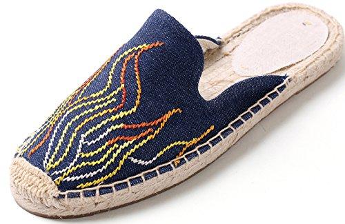 U-lite Women's Stylish Embroidery Flat Espadrilles Fancy Mule Navy Flame