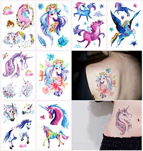 3d4c222ad Oottati 8 Sheets Temporary Tattoo Arm Leg Fake Stickers - Hand Paint Fairy  Tales Horse Wing