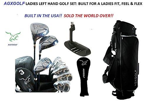 AGXGOLF Ladies Left Hand Magnum XV Complete Golf Club Set w/Ladies Bag & Free Putter: Petite, Regular or Tall Length