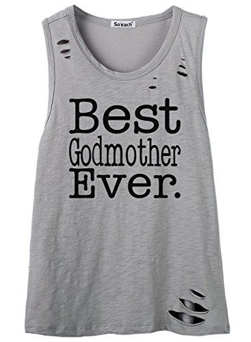 So'each Women's Best Godmother Ever Letters Hole Tee T-Shirt Cami Tank Top