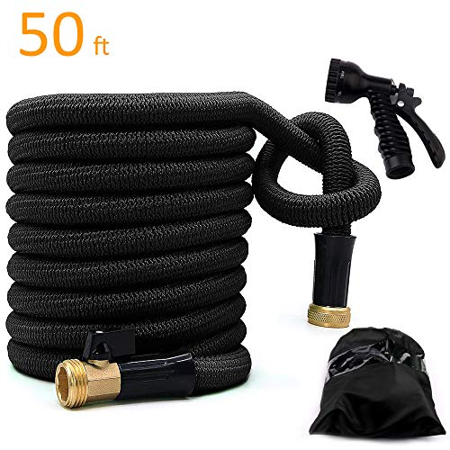 Garden Hose Water Expandable Hose Extra Strong Double Latex Core 3/4 Solid Brass Fittings Heavy Duty Shut Off Valve Strength Fabric Protection Hose For Car-Washing Garden Pets (50 Ft, Bright black)
