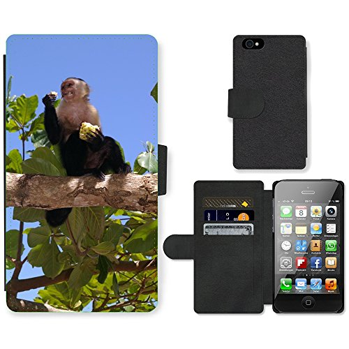 Just Phone Cases PU Leather Flip Custodia Protettiva Case Cover per // M00128419 Singe animaux mangent Greedy Cheeky // Apple iPhone 4 4S 4G