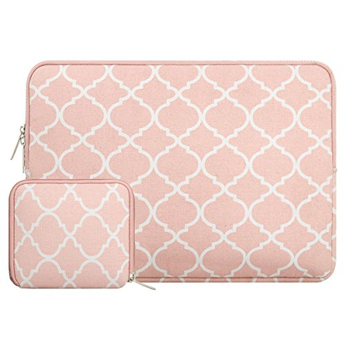 MOSISO Laptop Sleeve Bag Only Compatible MacBook 12-Inch A1534 with Retina Display 2017/2016/2015 Release with Small Case, Quatrefoil Style Canvas Fabric Protective Carrying Cover, Rose Quartz