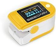 SEEDARY Oxímetro de Pulso y Monitor de Frecuencia Cardíaca con Pantalla OLED HD Pulsioxímetro con Alarma y 4 Direcciones Cer