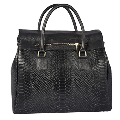 Made Italy Color Leather Python Black Bag Printed Woman In Genuine Handbag Tuscan g64TrZg