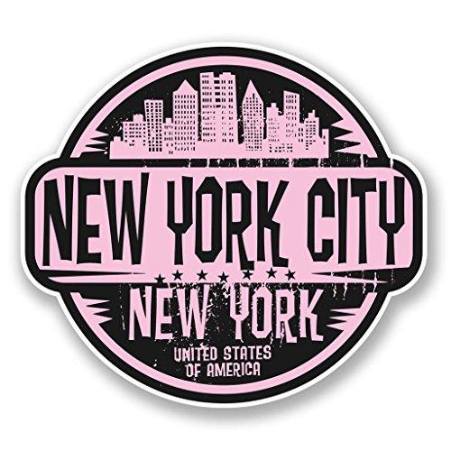 2 x 10cm- 100mm New York City America USA Vinyl SELF ADHESIVE STICKER Decal Laptop Travel Luggage Car iPad Sign Fun #6064