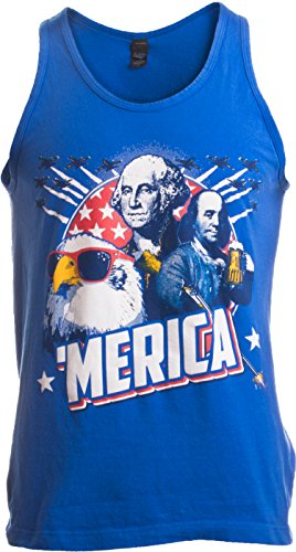 MERICA | Epic USA Patriotic American Party Unisex Tank Top Men Women -Adult,L Royal Blue