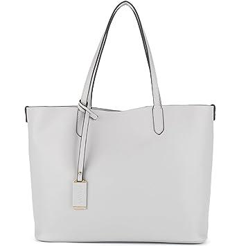 NAWO Designer Handtaschen Leder Schultertasche Shopper Umhängetasche Tote  Bag Taschen für Damen Grau