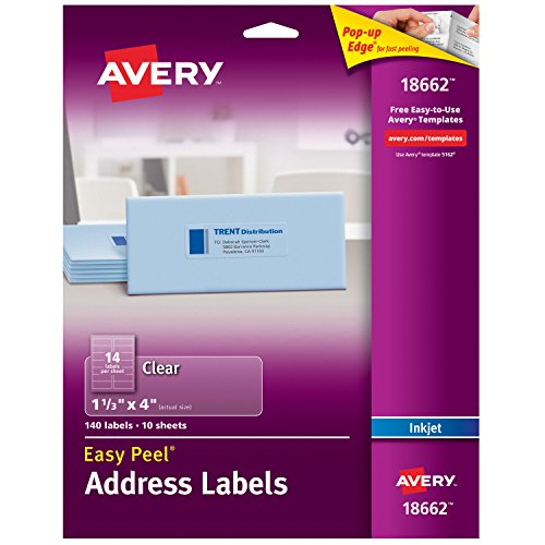 Avery Matte Frosted Clear Address Labels for Inkjet Printers, 1-1/3