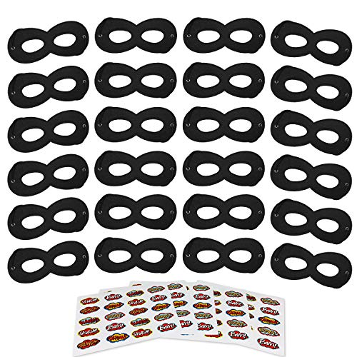 AIMIKE Black Superhero Masks, Kids Party Mask, 24Pcs with 100 Superhero Stickers -