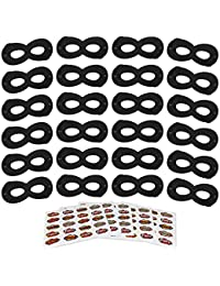 Black Superhero Masks, Kids Party Mask, 24Pcs with 100 Superhero Stickers