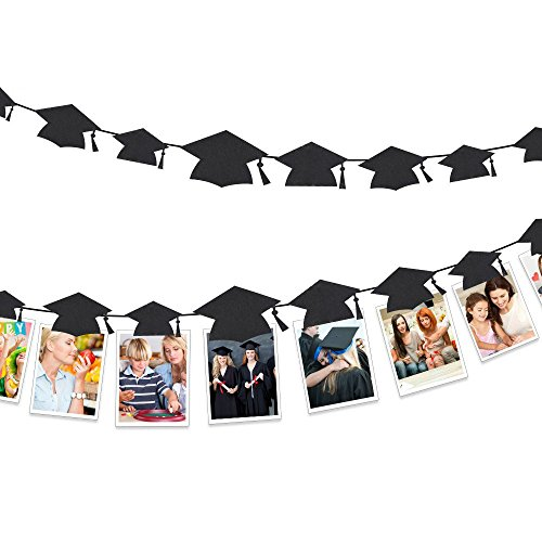 KUUQA 20PCS Graduation Banner Graduation Cap Shaped Photo Banner Garland for 2019 Graduation Party Decorations ()